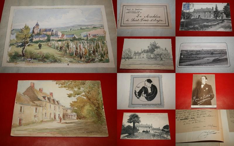 Manuscrit LImprim Deux Aquarelles Originales Un Dessin Original DAdolphe Messager 3 Cartes Postales Anciennes Du Saultray Proprit De